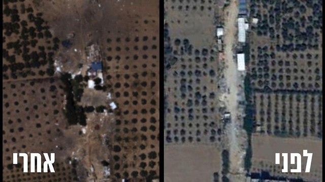 תצלום אוויר לאחר השמדת מפקדת גדוד חמאס באל בורייג' (צילום: דובר צה