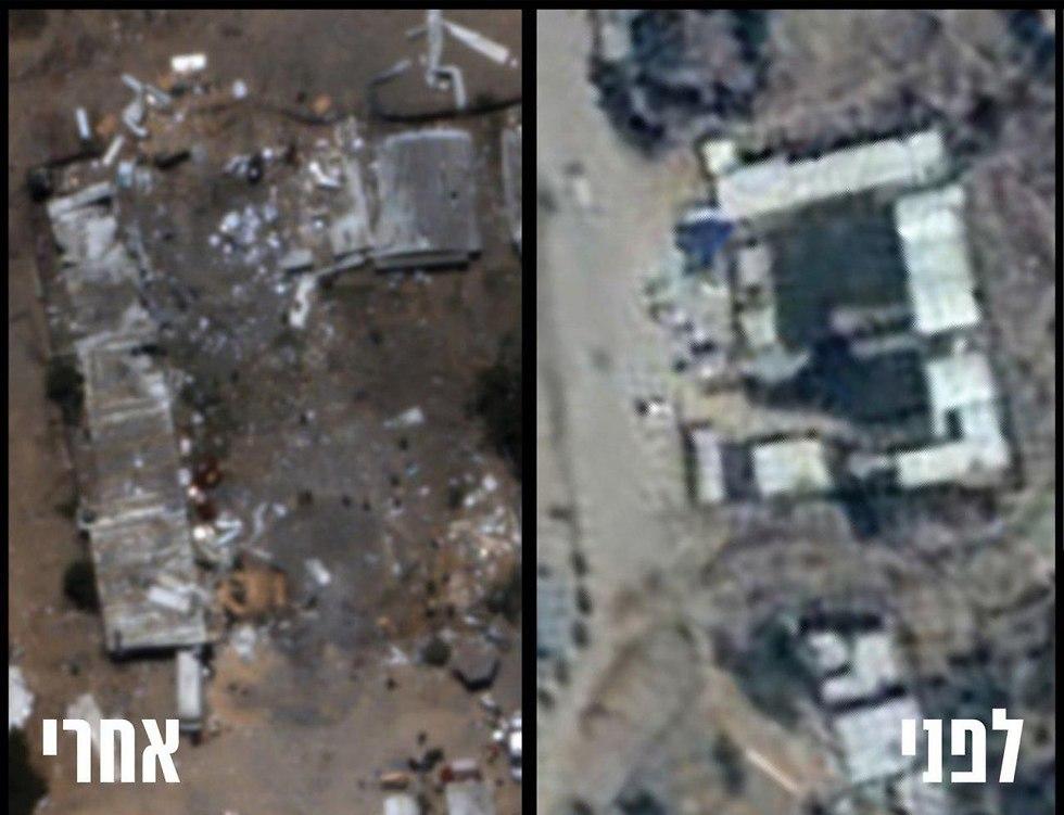 תצלום אוויר של השמדת מפקדת גדוד חמאס זיתון (צילום: דובר צה