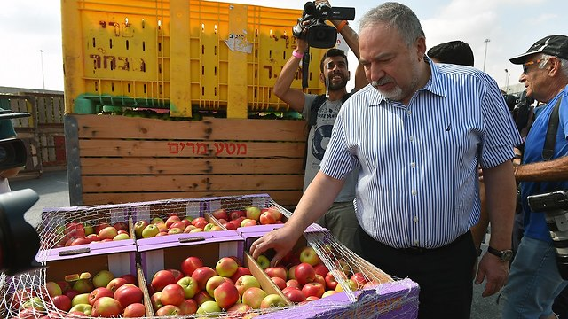 Defense Minister Avigdor Lieberman at the Kerem Shalom border crossing  (Photo: Ariel Hermoni, Ministry of Defense)