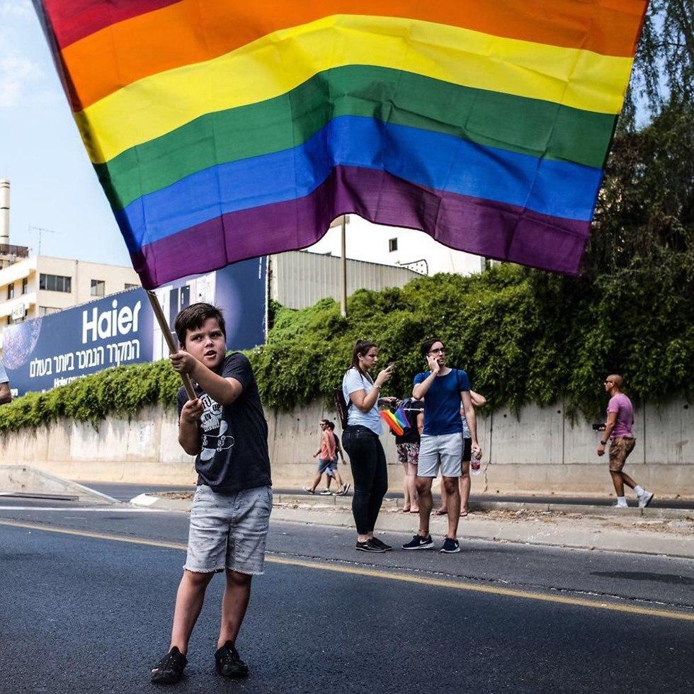 ילד דגל גאווה כביש איילון  (צילום: ירון הרן דוידוב)