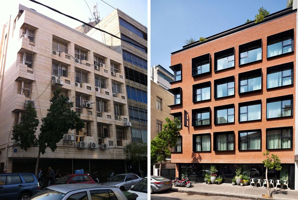 """""""פבריק"""". הבניין בן שש הקומות נבנה ב-1942 כבניין של מתפרות, ובתחילת שנות ה-80 הפך לבניין משרדים (משמאל). בהפיכתו לבית מלון פורק גריד הבטון בחזית והוחלף בלבני סיליקט אדומות (מימין). החלונות מוסגרו במסגרות פלדה שחורות ועמוקות (צילום: יואב מסר אדריכלים, אסף פינצ'וק)"""