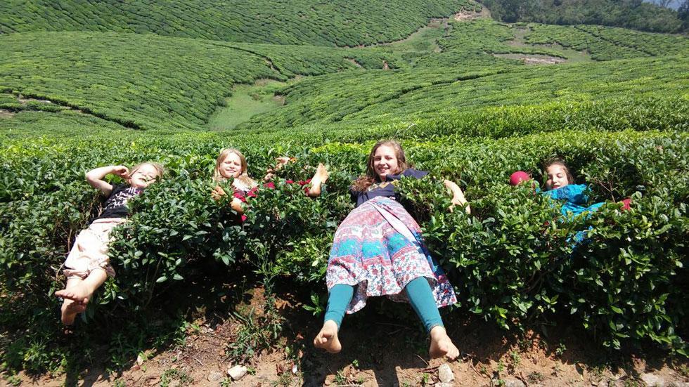 """הבנות משחקות ב""""ארץ האוויר"""" (משחק שהמציאו דולב וחברתה לילה), בשדות התה האינסופיים ליד וולפאראי, הודו (צילום: משפחת זיסמן)"""