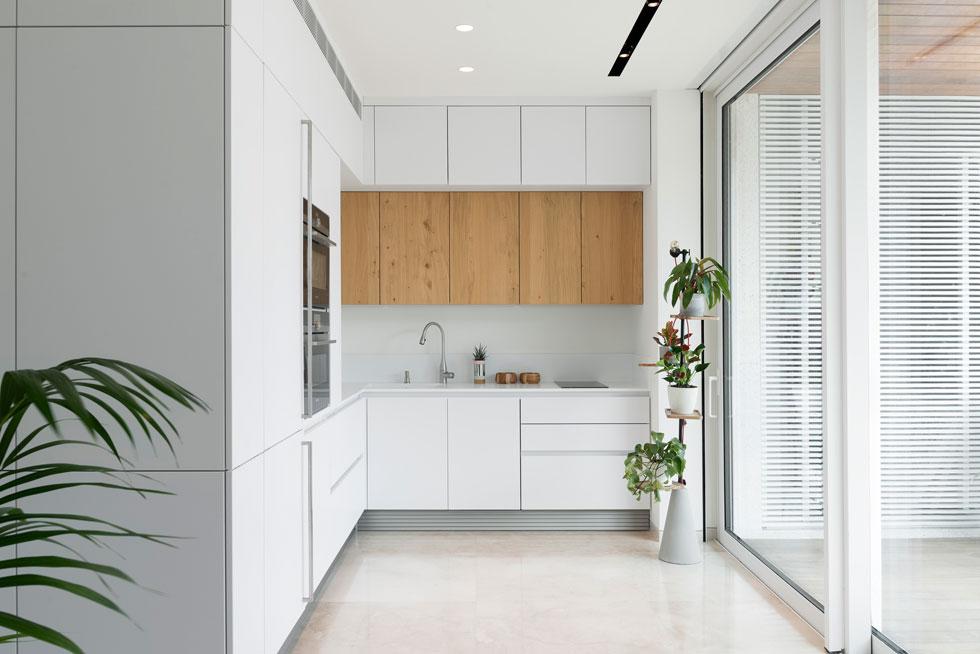 """המטבח קטן, והארונות הלבנים מלווים את קווי המתאר הקיימים של הדירה על מנת לא לייצר """"הפרעות"""" בזרימת החלל אל המרפסת  (צילום: גדעון לוין)"""
