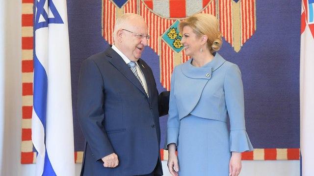Rivlin in his official visit to Croatia (Amos Ben Gershom/ GPO)