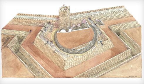 איור של חומה צלבנית טיפוסית, כולל החלקלקה, שהקשתה על טיפוס ופלישה למבצר (באדיבות רמי גיל)
