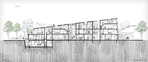 הקומות הגבוהות אלכסוניות, מה שמאפשר להשתמש בעליות הגג (רישום: נמרוד גרף)