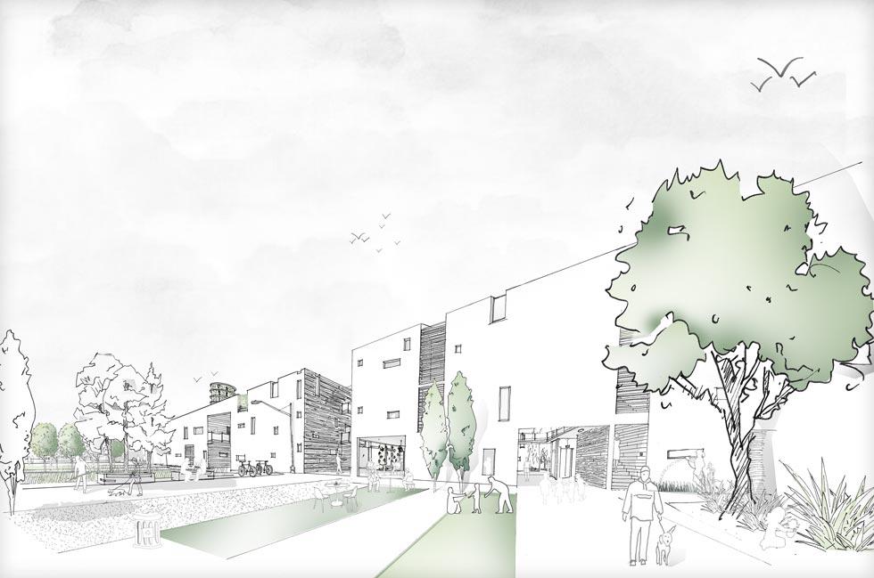 נמרוד גרף, בן תל עדשים וסטודנט לאדריכלות בוויצו חיפה, רואה כיצד המושב משנה את פניו וזקוק לתכנון מעודכן: בניינים של 3-4 קומות שיגדילו משמעותית את מספר יחידות הדיור (רישום: נמרוד גרף)