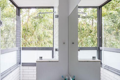 המקלחת תופסת את מקומה של מרפסת השירות הישנה (צילום: אביעד בר נס)