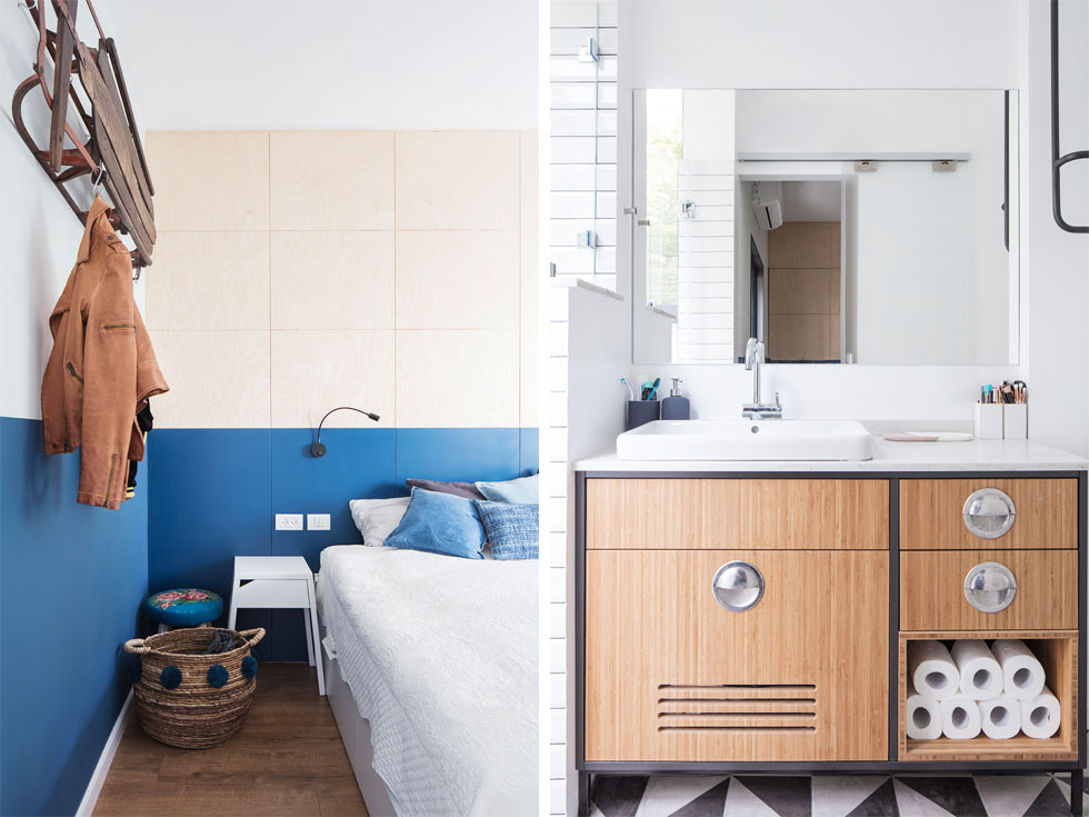 מימין: חדר הרחצה הצמוד לחדר השינה, עם ארון כיור שעוצב במיוחד מעץ ממוסגר בברזל וידיות נירוסטה (צילום: אביעד בר נס)