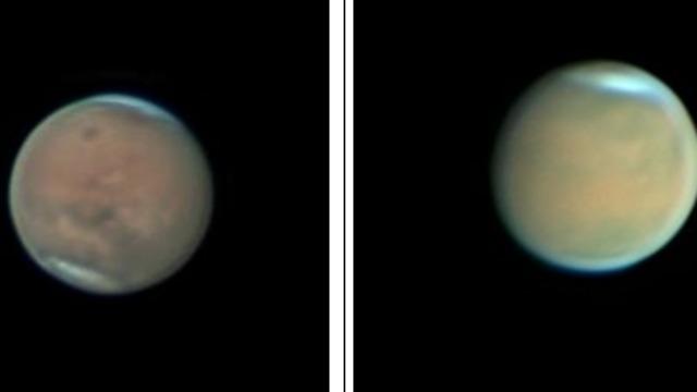 מימין, מאדים בצילום מ-23 ביוני השנה, סופת אבק מכסה את פניו. משמאל: מאדים מ-17 ביולי.  סופת האבק בדעיכה. שתי התמונות צולמו על ידי ד