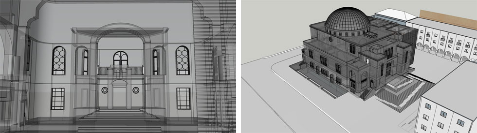 כך זה אמור להיראות אחרי השיפוץ: יוחזרו המדרגות המקוריות. בית הכנסת המקורי יפסיק להיראות כמו קובייה (הדמיה: אורי פדן אדריכלים)