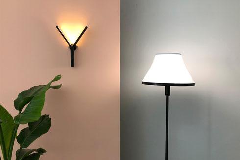 שתי המנורות - אחת עומדת, השנייה צמודת קיר - שהוצגו בתערוכת הגמר (צילום: באדיבות HIT)