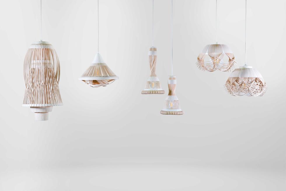 הפרויקט של פרח פטרסה: מנורות וחפצי נוי שמשלבים קראפט מסורתי (קליעת רטאן) עם טכנולוגיית ייצור עכשווית (הדפסה בתלת ממד) (צילום: באדיבות HIT)
