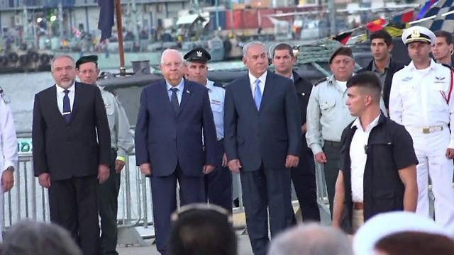 L-R: Minister Lieberman, President Rivlin, PM Netanyahu and Chief of Staff Gadi Eisenkot (Photo: Avihu Shapira)