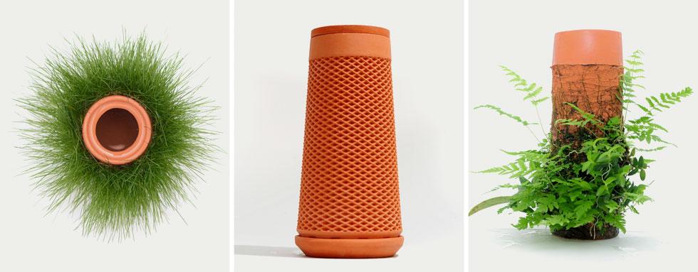 הפרויקט של ערן זרחי: כלי חרס שמתאימים לגידול הידרופוני של צמחים. הכלי שצורתו גלילית מתאים במיוחד לצמחים משתרגים, כמו שרכים (צילום: באדיבות HIT)