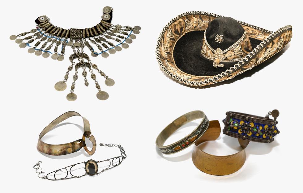 """""""יפה היתה נוהגת לרכוש תכשיטים ורקמות אתניות מגלריה דרוויש ובדים בחנות של הולנדר ומשלבת אותם בעיצוביה"""" (מתוך אוסף משפחת ירקוני, צילום: טל קירשנבוים)"""