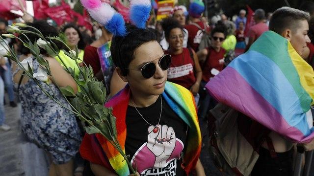 מצעד הגאווה בירושלים לשנת 2018 (צילום: AFP)