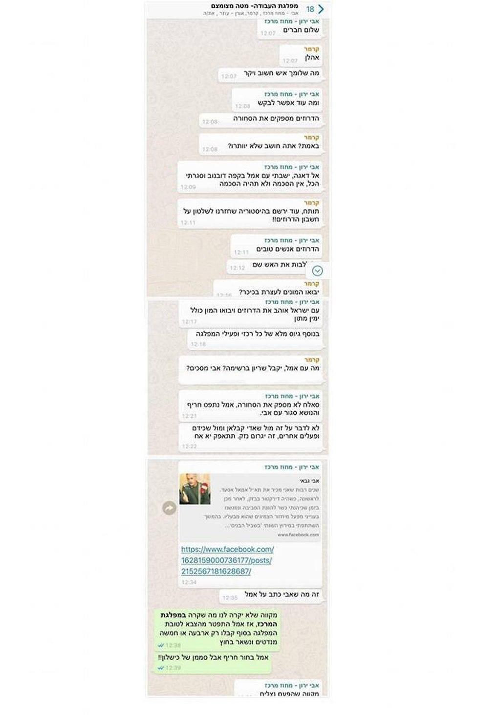 The fake WhatsApp chat