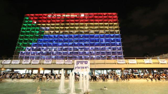 הפגנה נגד חוק הלאום בכיכר רבין (צילום: מוטי קמחי)