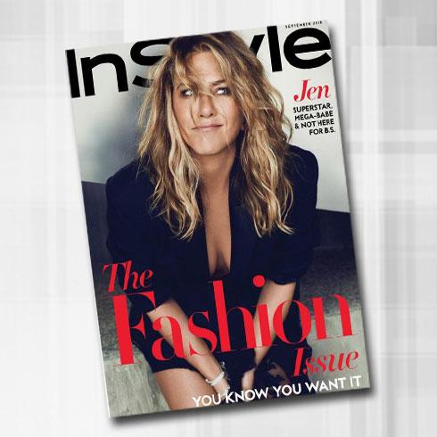 """אני לא שבורת לב"". ג'ניפר אניסטון על שער מגזין Instyle (צילום: Ben Hassett/InStyle)"