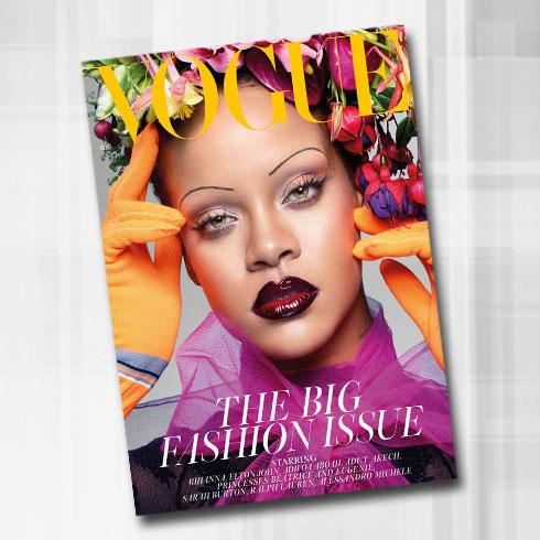 לא חוששת לקחת סיכונים, גם כשזה מגיע לגבות. ריהאנה בווג הבריטי (צילום: Nick Knight)