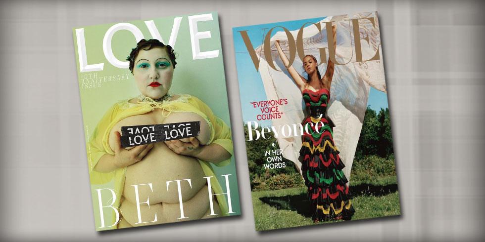 לומדות לאהוב את עצמן על שערי גיליונות ספטמבר החדשים. ביונסה בווג האמריקאי (מימין) ובת' דיטו במגזין LOVE (צילום: Tim Walker, Tyler Mitchell)