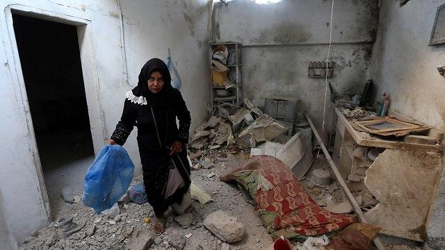 נזק בתים ב רצועת עזה לאחר הפצצה הפצצות תקיפה תקיפות צה