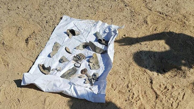 Shrapnel from rocket that landed in Be'er Sheva (Photo: Israel Police)