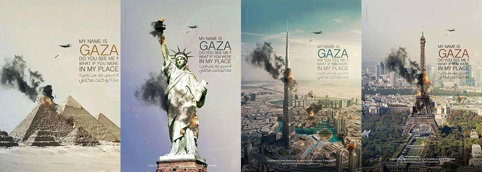 דובאי פירמידה מגדל אייפל פסל החירות מחאה על תקיפת צה