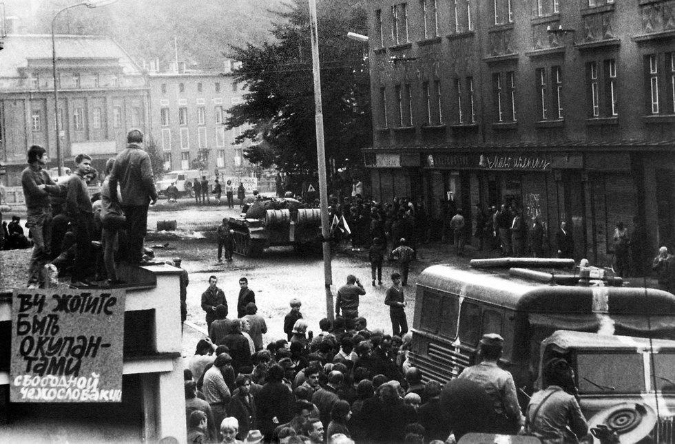 פראג צ'כיה 50 שנה לפלישה הסובייטית ל צ'כוסלובקיה (צילום: AFP)