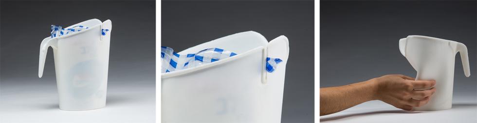 קנקן הפלסטיק הנוסטלגי של החלב קיבל חומריות חדשה מסיליקון גמיש. במקום להסתיר את שקית החלב - מתגאים בה, והחריץ משמש כסוגר ששומר על טריות החלב (באדיבות טל שוטנפלס)