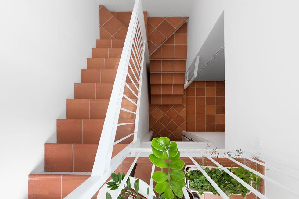 ריצוף הטרה-קוטה, שעליו התעקשה הדיירת, הוא אמיתי ומשתרע על פני רוב הבית. גרם מדרגות מפותל עולה מהכניסה הראשית לקומת הגג (צילום: גדעון לוין)