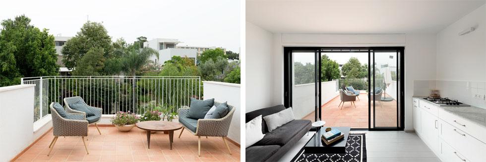 """בקומה העליונה, שנוספה מעל הדירה הישנה שקנתה, תוכננה יחידת דיור  בת 40 מ""""ר עם מרפסת בת 70 מ""""ר (צילום: גדעון לוין)"""