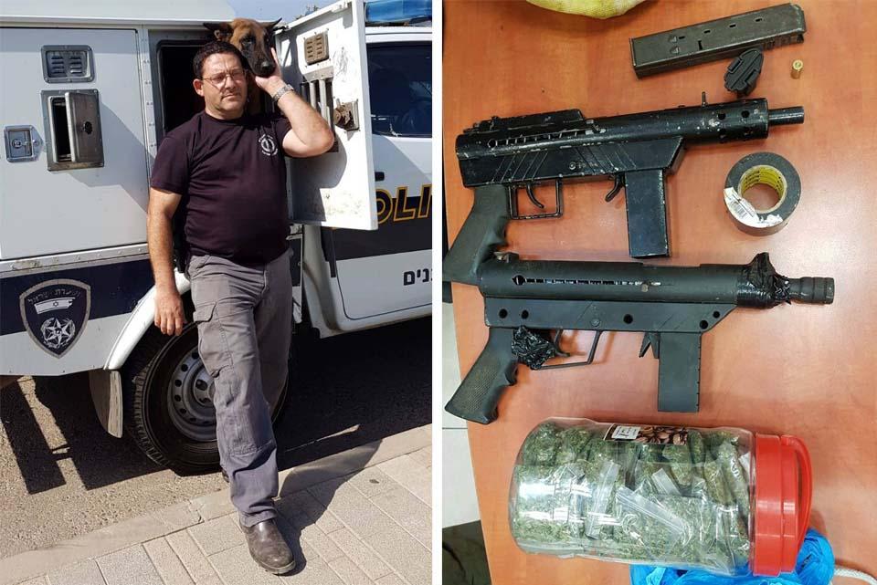 Вадим, Оникс и конфискованные улики. Фото: пресс-служба полиции