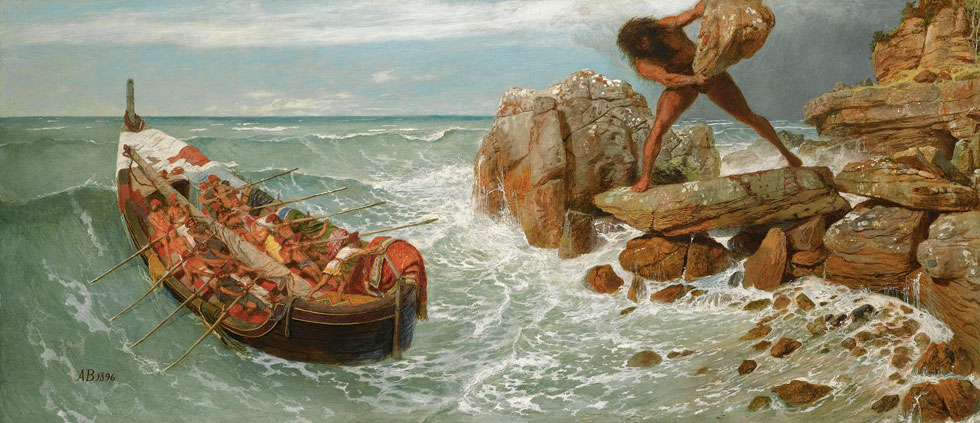 אודיסאוס כפי שצויר על ידי האמן השווייצרי ארנולד בוקלין בסוף המאה ה-19 (ציור: Arnold Böcklin, cc)