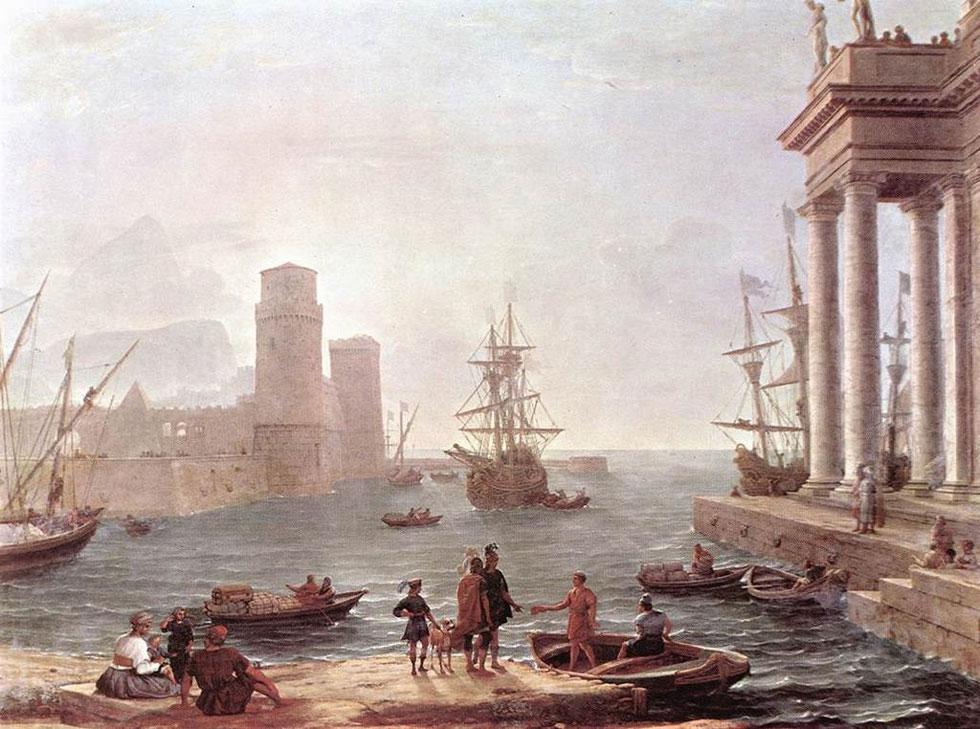 וכפי שצויר על ידי האמן הצרפתי קלוד לורן  ב-1646 (ציור: Claude Lorrain, cc)