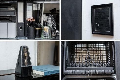 הבחירה בשחור מקיפה את כל חללי הבית: ממיכל הסבון הנוזלי בשירותים ועד הקומקום במטבח, מהעפרונות בסטודיו ועד לכורסת הקש הקלועה בחדר השינה (צילום: ענבל מרמרי)