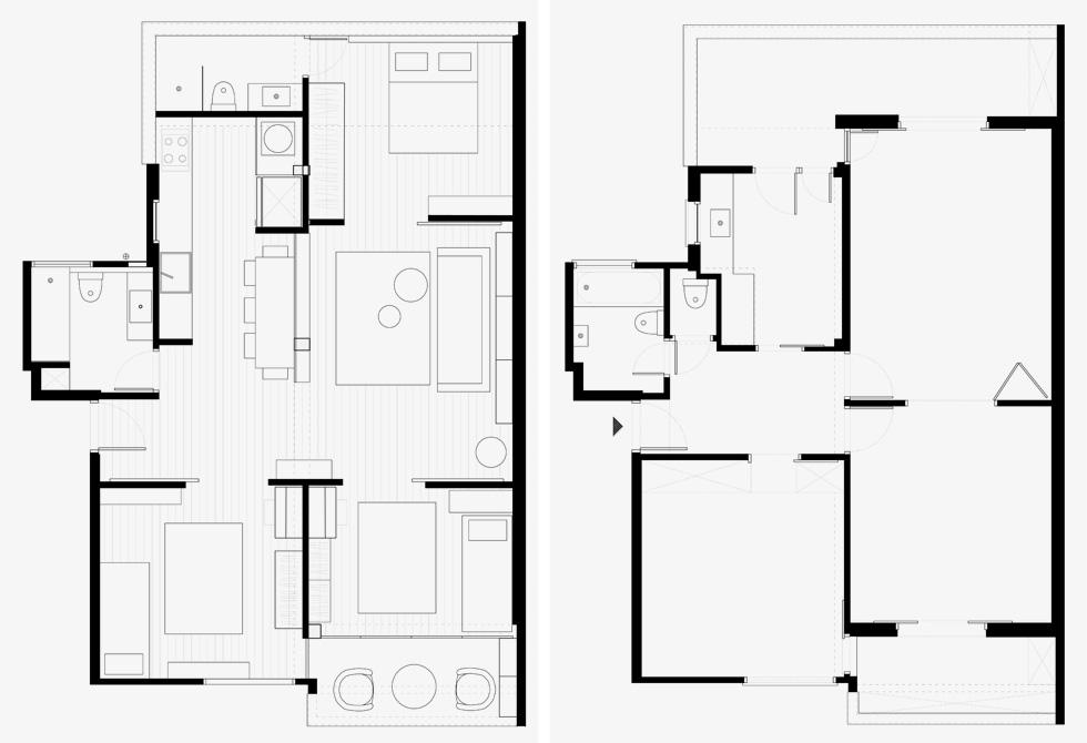מימין: תוכנית הדירה לפני השיפוץ. משמאל: אחרי. הסלון מוקם במרכז, והחלונות הגדולים נמצאים דווקא בחדרים (תוכניות: סטודיו מטקה)