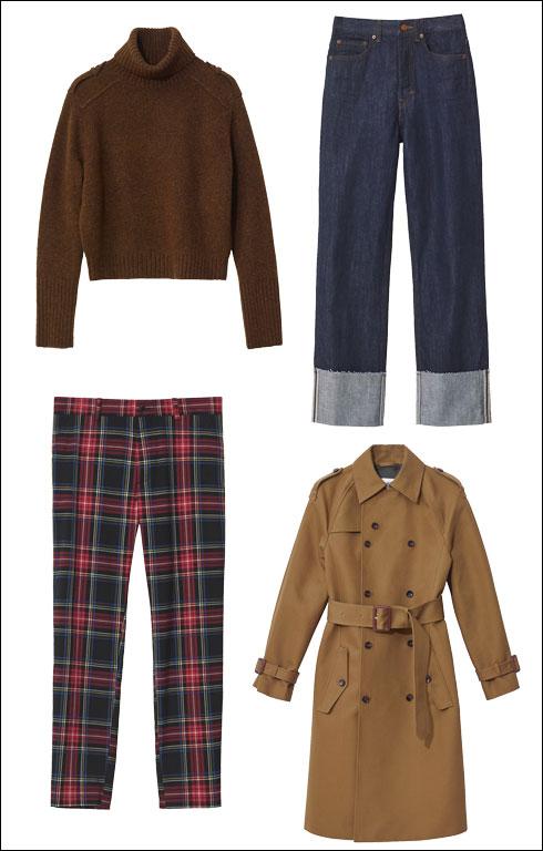 מכנסי ג'ינס לנשים, 279 שקל; סריג חום, 349 שקל; מעיל טרנץ', 899 שקל; מכנסיים משובצים לגברים, 249 שקל  (צילום: הנס מוריץ)