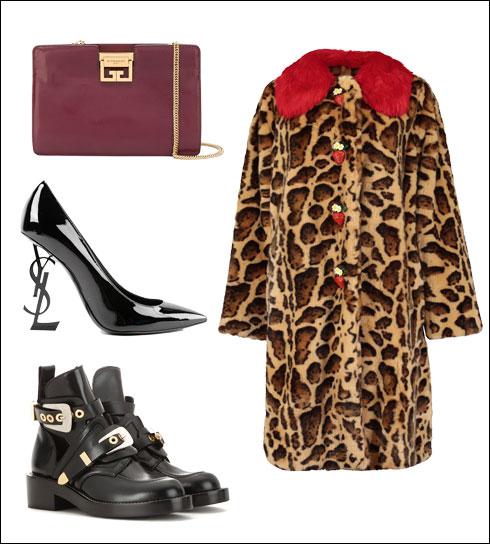 מעיל מנומר של דולצ'ה & גבאנה, 11,990 שקל; תיק של ז'יבנשי, 8,990 שקל; נעלי עקב של סן לורן פריז, 4,990 שקל; נעליים של בלנסיאגה, 5,690 שקל
