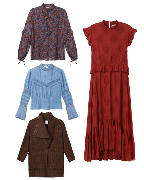שמלה, 1,096 שקל; חולצה פרחונית, 796 שקל; חולצה בצבע תכלת, 596 שקל; מעיל, 1,196 שקל (צילום: ניר יפה)