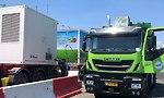 משאית זבל מונעת בגז בחיפה (צילום: ראובן כהן)