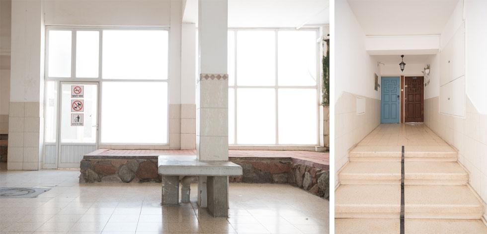 אולם הכניסה מרוצף באריחי טראצו מבריקים ובלבני בטון ורודות. הטמפרטורה נמוכה באופן ניכר, הודות לחדירת קור דרך פתחים בדירות (צילום: ליאור גרונדמן)