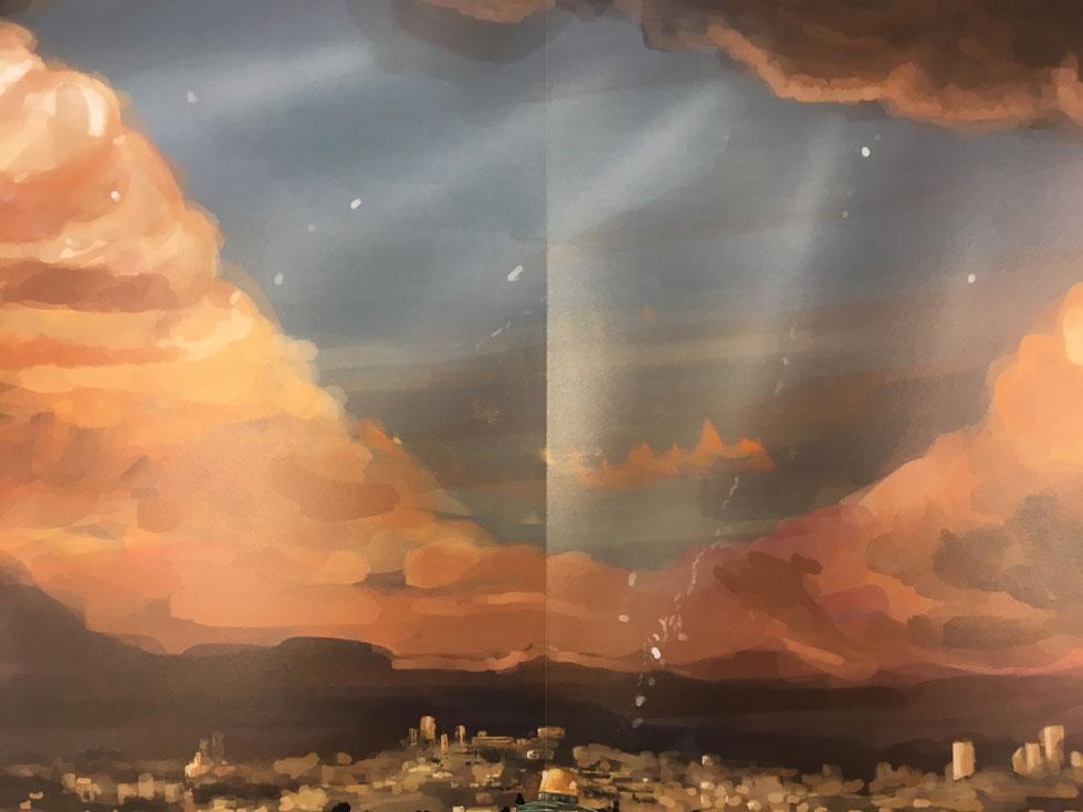 השילוב עם אדי המים והאור הבוקע מלמעלה מקנה תחושה של מבנה דתי ואווירה מיסטית. המסתורין והחידתיות מלווים את העבודה, שנעה בערפול מכוון בין מציאות לדמיון (צילום: דקל גודוביץ)