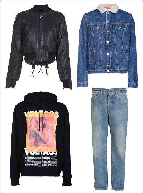 ז'קט ג'ינס עם צמר לגברים, 1,100 שקל; מעיל עור לנשים, 3,400 שקל; מכנסי ג'ינס מדגם Neekhol לנשים, 1,100 שקל; סווטשירט שחור לגברים, 740 שקל (צילום: קמילה סימון/ סטודיו DNA)