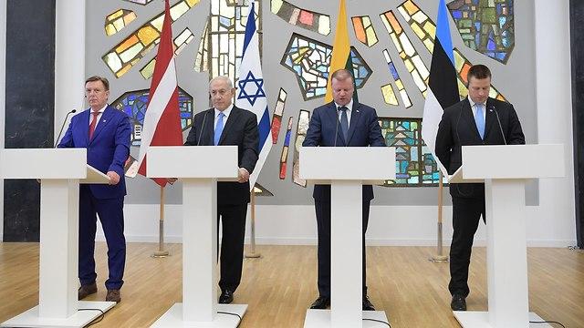 Netanyahu at Baltic States summit's press conference  (Photo: GPO)