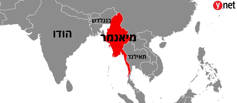 מפה מיאנמר אסיה ליד הודו תאילנד ו בנגלדש ()