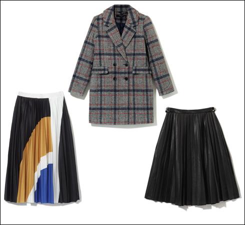 חצאית פליסה מבד דמוי עור, 119.90 שקל; מעיל בדוגמת משבצות, 249.90 שקל; חצאית צבעונית, 89.90 שקל