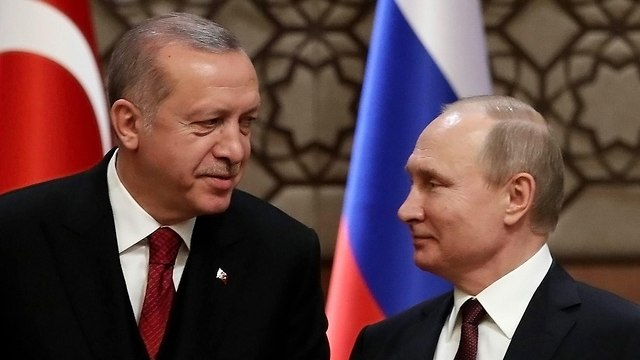 נשיא רוסיה ולדימיר פוטין נשיא טורקיה רג'פ טאיפ ארדואן (צילום: AFP)
