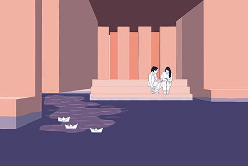 ביתן על המים, שבו משכשכים רגליים לפי הגאות והשפל, עדיין אין בתל אביב (אנימציה: יותם גלפז)